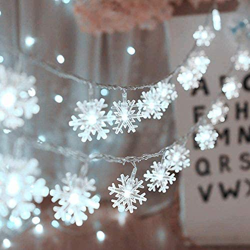 Christmas Snowflake String Lights Indoor/Outdoor Fairy LED String Lights, Modes Christmas Lights for Home, Christmas Tree Wedding Party Room Wall Decoration Waterproof for Winter Xmas Garden Patio