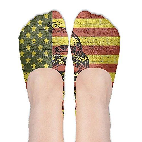PangYuen American Flag Don't Tread Snake Women's Polyester Cotton Socks Ladies Boat Socks Deodorant Boat Socks Thin Section Casual Socks Low Breast Socks