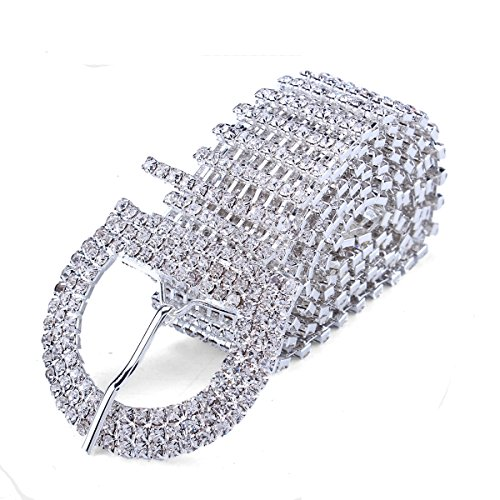 FUMUD 9 Line Crystal Rhinestone Chain Waist Buckle Belt Fashion Accessory for Women (Rhinestones Belts For Women)