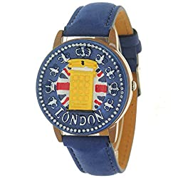 Blue Antique Retro Style London Telephone Booth Clamshell Wrist Watch Quartz Movement Leather Strap