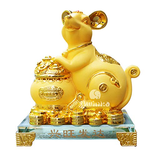 Bwinka 2020 Feng Shui Chinese Zodiac Rat/Mouse Year Golden Resin Collectible Figurines Decoration for Luck & Wealth Perfect for Your Home or Office (MC-XWFD)