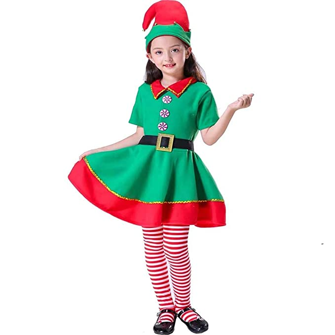 Amazon.com  ZTie Women Girls Holidays Xmas Party Cosplay Dress Christmas  Santa Claus Hat Socks Elf Costumes Outfit Set  Clothing 5667f57f2