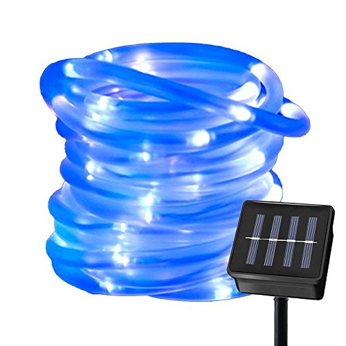 Ruichen Solar Powered String Light,16.5FT 50 LED Strip Rope Tube Fairy Lights Waterproof For Outdoor Garden Wedding Party Christmas Xmas Decoration(Blue)