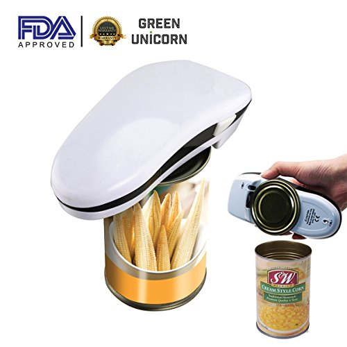 GreenPoint Smooth Edge One Touch Can Opener, Electronic Can Opener, Hands Free Can Opener for Kitchen by Green Unicorn