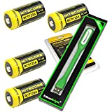 Bundle 4 Pack Nitecore NL166 RCR123A 3.7V 650mA 2.4Wh 650mAh Protected Li-ion 16340 Rechargeable Batteries with EdisonBright USB powered LED reading light