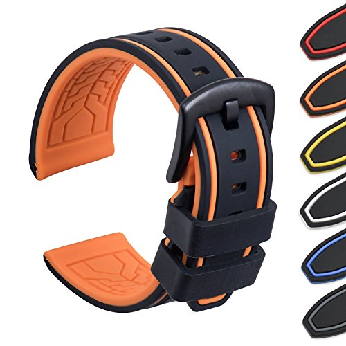 Ullchro Silicone Watch Strap Replacement Rubber Watch Band Waterproof Bicolor Men Women - 20, 22, 24, 26mm Watch Bracelet with Brushed Stainless Steel Buckle Black (20mm, black & orange)