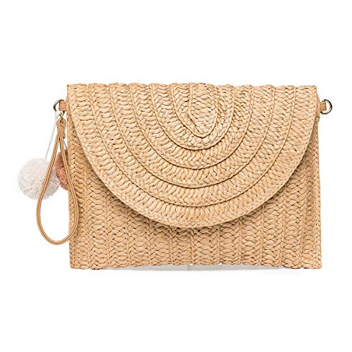 Straw Shoulder Bag, Kadell Straw Clutch Women Handmade Straw Bag Summer Beach  Envelope Purse Wallet