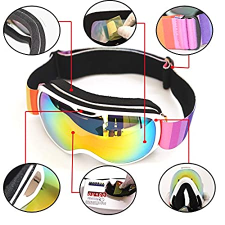 535cf4976517 HONCENMAX Kids Ski Goggles - Snow Snowboard Goggles - Helmet Compatible -  for Child Children Youth Boys Girls - OTG Design Non-Slip Strap UV400  Protection