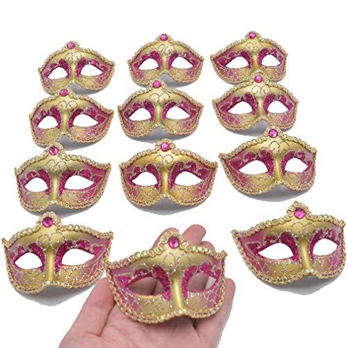 Mini Masquerade Mask Party Decorations - 12pcs Pack Luxury Gemstone Mardi Gras Small Venetian Mask Decor Party Favors (Fuschia) -