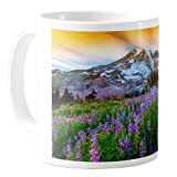 AquaSakura - Mount Rainier National Park Washington - 11oz Ceramic Coffee Mug Tea Cup