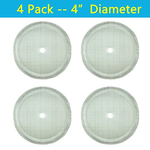 "French Press Filters, 4"" Diameter, Food Grade 18/8 (304) Stainless Steel mesh, Replacement Filters For French Press Coffee Maker, Easy to Install and Clean (4 Pack) by apgarden"