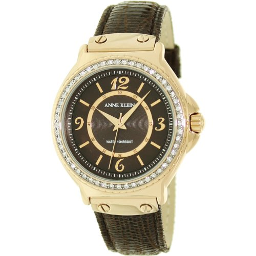 Anne Klein Swarovski Crystals Dark Chocolate Color Leather Strap Watch for Women