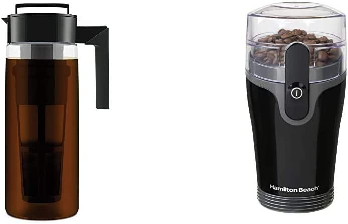 Takeya Patented Deluxe Cold Brew Iced Coffee Maker with Airtight Seal & Silicone Handle, 2 Quart & Hamilton Beach Fresh Grind 4.5oz Electric Coffee Grinder for Beans, Stainless Steel Blades, Black
