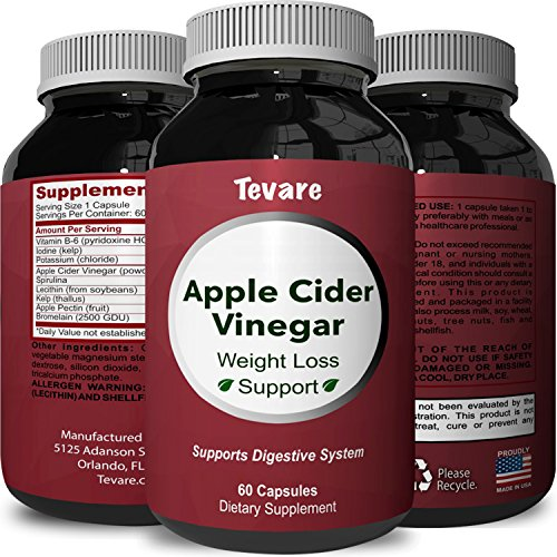 Natural Apple Cider Vinegar Supplement for Weight Loss - Pure Metabolism Booster and Fast Acting Fat Burner for Men and Women - Extra Strength Appetite Suppressant Diet Pills - 60 (Fast Burners)