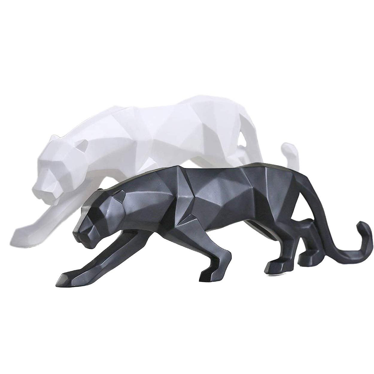 FJWYSANGU Abstract Leopard Statues Panther Sculpture Hand Craved Animal Resin Modern Home Decoration Small Black and White