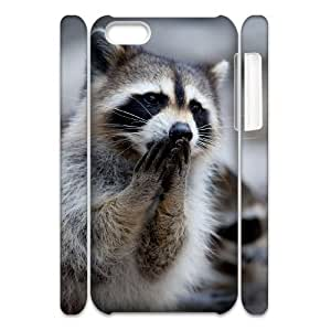 Cell phone 3D Bumper Plastic Case Of Raccoon For iPhone 5C