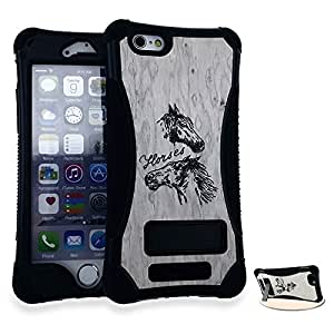 CellTx Kicker Case For Apple (iPhone 6) Bumper Kick Stand Wood Cover (Laser Cut, Wood, Horses, Black) AT&T, T-Mobile, Sprint, Verizon, Boost Mobile, U.S Cellular, Cricket by mcsharks