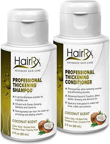 HairRx Professional Thickening Shampoo & Conditioner Travel Set, Luxurious Lather, Coconut Scent, 2 Ounce Bottles