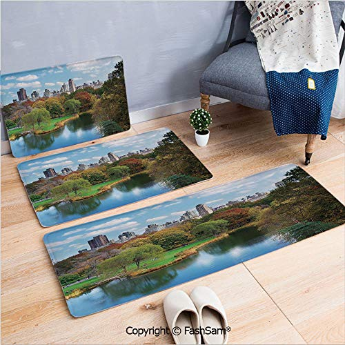 (3 Piece Fashion Flannel Door Mat Carpet Central Park in Autumn with Lake Trees and Manhattan USA American Nature Image for Door Rugs Living Room(W15.7xL23.6 by W19.6xL31.5 by W31.4xL47.2) )