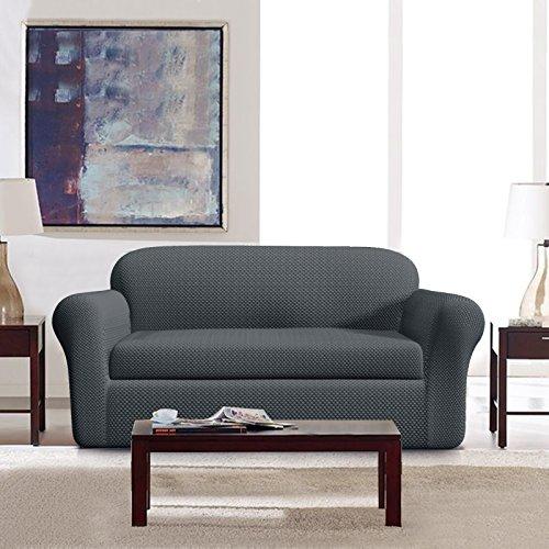 DyFun 2-Piece Jacquard Spandex Stretch Dining Room Sofa Slipcovers (Sofa, Grey) - Slipcovered Sofa Set
