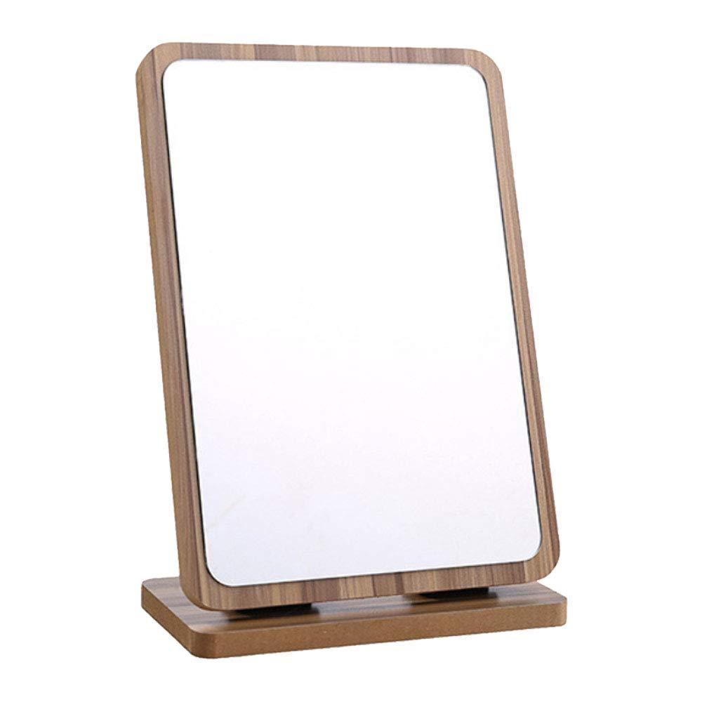 Tinland Countertop Makeup Vanity Mirror Wood Frame Adjustable Angle for Bathroom Cosmetic Skin Care Shaving Use (Brown)