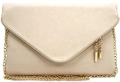 Vegan faux leather soft envelope shape clutch crossbody bag pouch