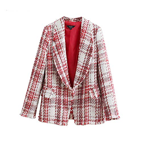 Outerwear Chic - Women Tweed Plaid Jacket Fringe Tassels Single Button Pockets Long Sleeve Coats Female Casual Chic Outerwear Tops CA336