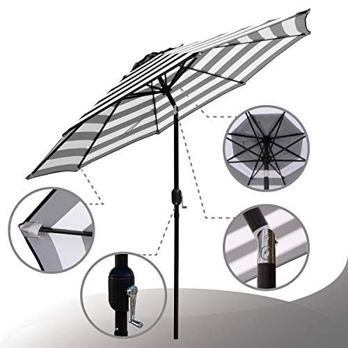 ABBLE Outdoor Patio Umbrella 9 Ft Stripe with Crank and Tilt, Weather Resistant, UV Protective Umbrella, Durable, 8 Sturdy Steel Ribs, Market Outdoor Table Umbrella, White and Black