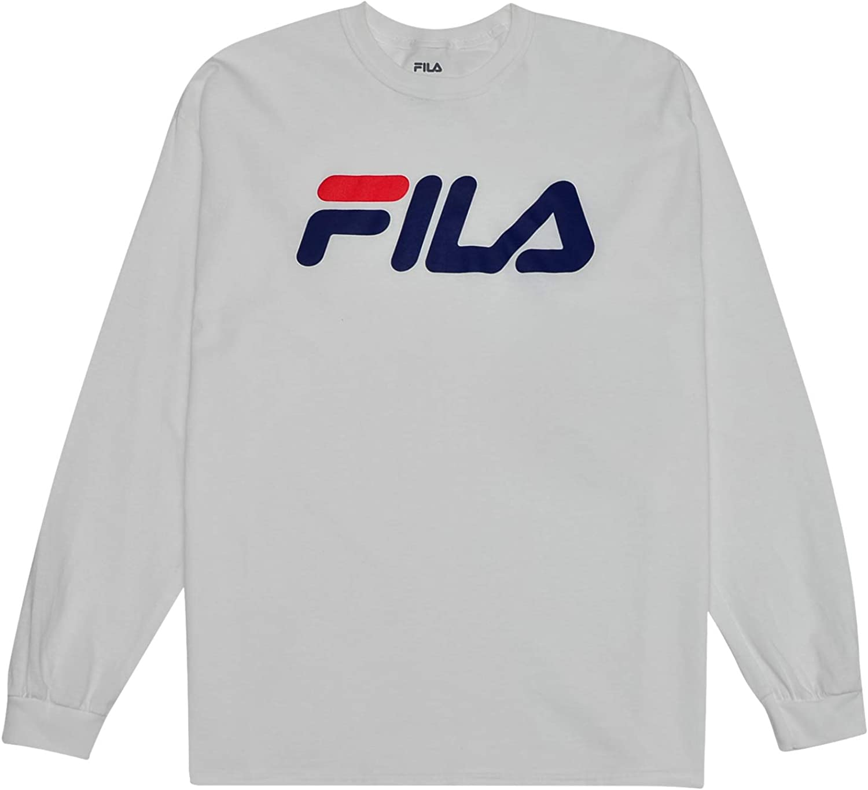 Fila Camiseta de Manga Larga con Cuello Redondo y Logo para Hombre 4X Alto Blanco: Amazon.es: Ropa y accesorios