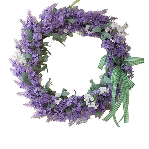 Florist Flower Wreath Rose Garland for Home Wall Wedding Decoration (purple)