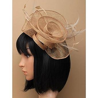 Stunning Latte Beige Sinamay Loops   Swirls Feather Fascinator Hatinator on  Clip Wedding Races 19c18eadab8