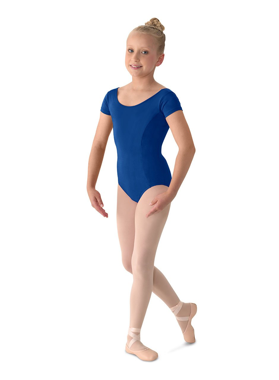 Mirella Girl's Princess Seam Cap Sleeve Dance Leotard Royal 4-6 by Mirella