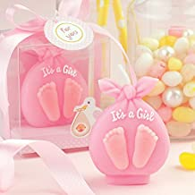 Baby Christening Candle Adorable Baby Boy/girl Footprint Birthday Candle Cake Topper Baby Shower Favors (In Gift Box) Attached with Greeting Card (Pink)