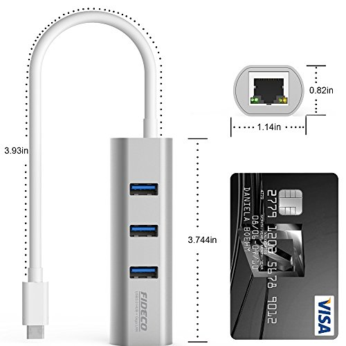 FIDECO USB-C HUB with Network Adapter, Aluminum 3-Port USB