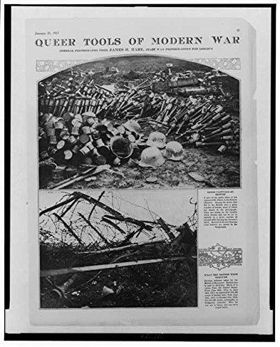 HistoricalFindings Photo: Photo of Queer Tools of Modern War,1917,World War I,WWI,Piles of German Helmets]()