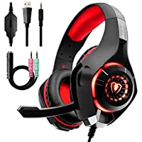 Beexcellent GM-1RED Gaming Kopfhörer für PS4 PC Xbox One, LED Light, rot