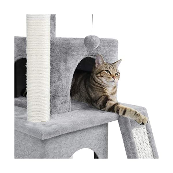 PAWZ Road Cat Tree Luxury Cat Tower with Double Condos, Spacious Perch, Fully Wrapped Scratching Sisal Posts and Replaceable Dangling Balls 4