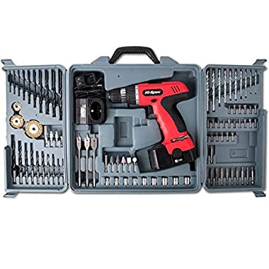 Hi-Spec 18V 800mAh Power Cordless Variable Speed Drill Driver with 89 Piece Drill & Screwdriver Bits, Sockets and Brushes for DIY, Carpentry, Repair With Case