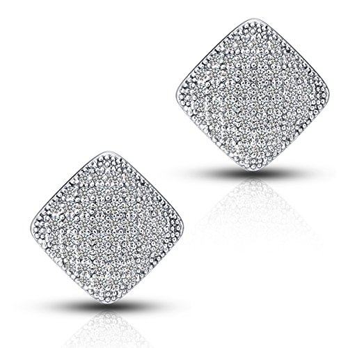 18K White Gold Plated Round CZ Cubic Zirconia Triangle Stud Earrings For Women