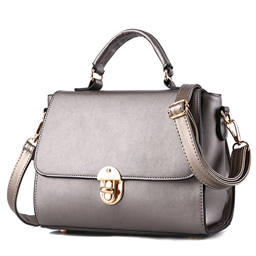 Da Metallo Pu Donna Tote Messaggero Spalla Mano Beige Pelle Bronzo Pulsanti Multicolore Crossbody Bag In 7zvSwwq