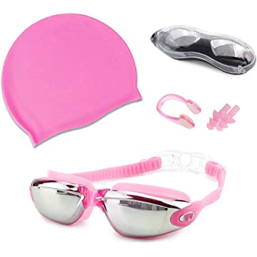 Swim Goggles Cap 4 pcs Set No Leaking Anti Fog UV+ Nose Clip + Ear Plugs for Adult Men Women Youth Boys Girls with Free Protection Case