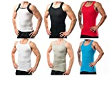 Different Touch Men's G-Unit Style Tank Tops Square Cut Muscle Ribbed Underwear Shirts (M, 6 Pack (Assorted))