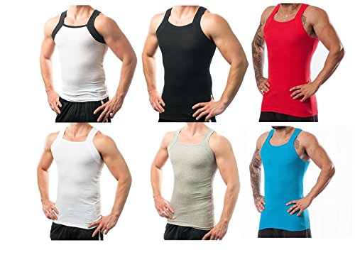 Traditional Square Top - Men's G-unit Style Tank Tops Square Cut Muscle Ribbed Underwear Shirts (3XL, 6 Pack ( Assorted ))