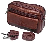 ENCACC Mens Waist Pack Small Messenger Bags Tactical Mobile Phone Pouch Leather Travel Bags Cases Holsters (Brown WK4EN)