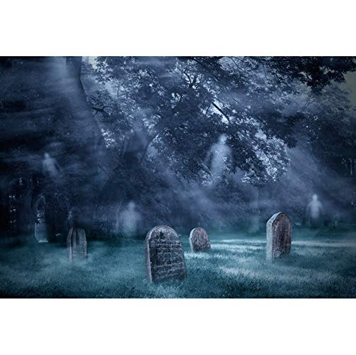 DORCEV Halloween Photography Backdrop Halloween Party Costume Party Background Twilight Misty Forest Tombstone Ghosts Halloween Party Banner Wallpaper Halloween Photo Studio Props]()