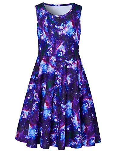 Leapparel Big Girls Sundress Cute Colorful Galaxy 3D Printed Girl's Summer Cotton Sleeveless Skirts Crew Neck Frocks A-line Kids Playwear Swing Dress XL 10-13 Years Old