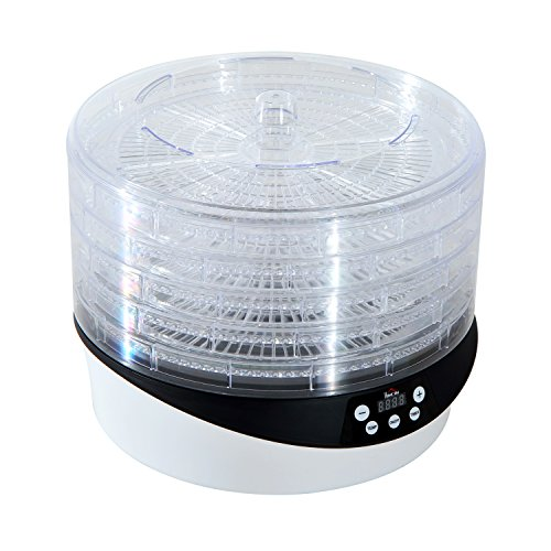 HomCom 5 Tray 500 Watt Rotating Food Dehydrator with Timer - Black/White