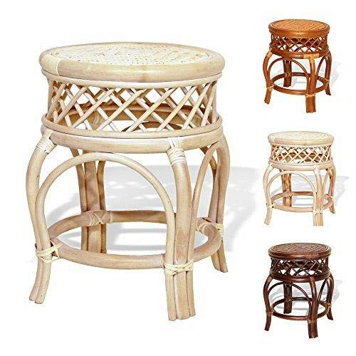 OKSLO Ginger handmade rattan wicker stool fully assembled white wash