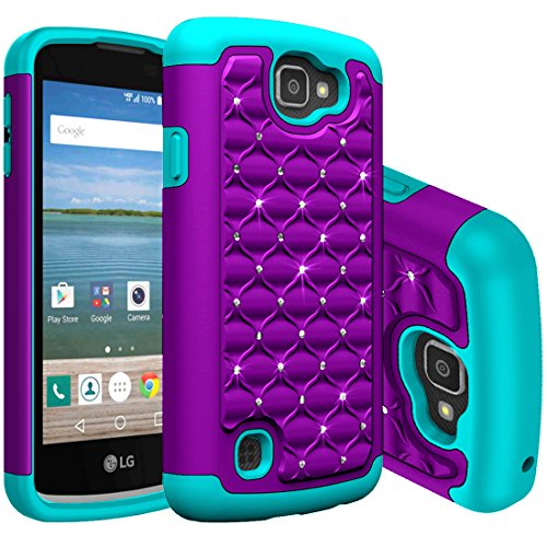 LG K4 Case,LG Spree Case, LG Optimus Zone 3 Case,LG Rebel LTE Case,Anna Shop Studded Rhinestone Shockproof Hybrid Hard PC+Silicone High Impact Defender Cover For LG Optimus Zone 3/ LG K4/ LG Spree (Lg Optimus Otterbox compare prices)
