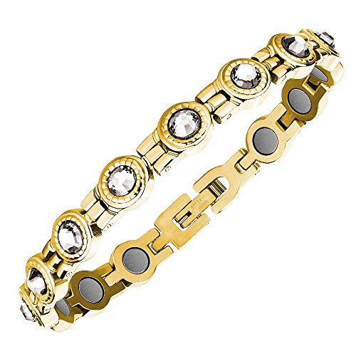 ProExl Elegant Womens Magnetic Therapy Bracelet with Crystals from Swarovski Gift Box (Gold Clear)